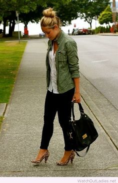 Black skinny pants, white top, olive shirt and leopard heels