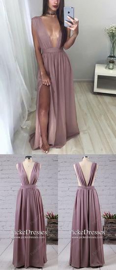 Long Prom Dresses,A-line Formal Evening Dresses,V-neck Graduation Dresses,Chiffon Pageant Dresses,Modest Wedding Party Dresses with Split Front