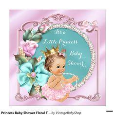 Princess Baby Shower Floral Teal Pink Brunette Invitation