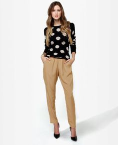 really love the oversized polka dots and the high waisted pants!