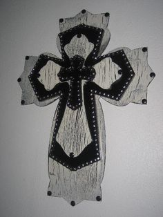 Wall Cross Crackled Painted & Stacked. $45.00, via Etsy.