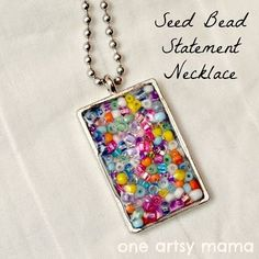 How to Make a Seed Bead Pendant necklace with Mod Podge Dimensional Magic...Easy Peasy #diyjewelry