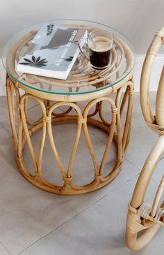 KOK MAISON Diabolo Natural Rattan Round Table - Natural - The Modern Nursery Cane Furniture, Bamboo Furniture, Furniture Styles, Furniture Design, Rattan Coffee Table, Wicker Table, Round Coffee Table, Bamboo Sofa, Bamboo Table