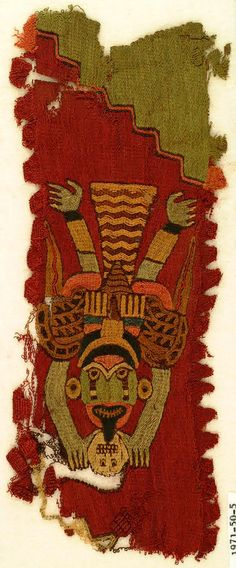 "Embroidery in strong colors covering entire surface. Winged figure holding trophy head.    This fragment is medium: wool technique: embroidery on plain weave foundation.    This fragment is from Peru and dated ""300–100 BC""."