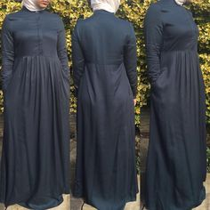 "8 Likes, 2 Comments - Allure.Abayas (@allure_abayas) on Instagram: ""Fabulous charcoal blue abaya with pockets and hidden buttons in size 10 and 12 @ £26"""