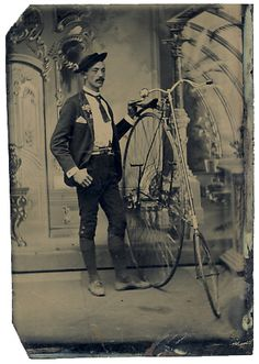 ca. 1860-90's, [tintype portrait of a gentleman posed with his Star safety bicycle] via Stereographica, Antique Photographica