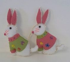 Easter Bunny with Embroidered Jacket - Felt Hanging Ornament - Easter Decoration on Etsy, $7.50