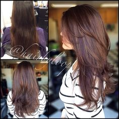 Rich chocolate brown with a full head highlight. Love the lowlights.