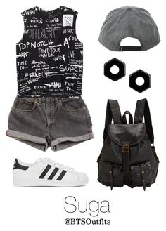 """""""Concert with Suga"""" by btsoutfits ❤ liked on Polyvore featuring Levi's, Jas M.B., Marc by Marc Jacobs, adidas Originals and Monki"""