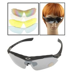 [USD8.73] [EUR8.24] [GBP6.41] UV400 Protection Sports Sunglasses for Shooting / Cycling / Ski / Golf, Pack of 4pcs UV400 Protection Divided Lens(Black)