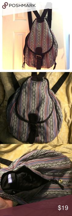 Boho knapsack/ backpack Boho style knapsack/ backpack from Claire's. Adjustable straps. Magnetic close. Zippered main pouch with small zipper pocket. 2 zippered side pockets Claire's Bags Backpacks