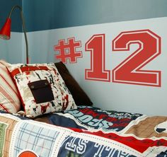 Good idea for the boys rooms with their football numbers