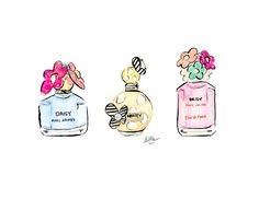 Marc Jacobs Perfume Trio Illustrazione ad acquerello b - Profumo Idee Marc Jacobs Parfüm, Fashion Sketches, Fashion Drawings, Fashion Illustrations, Watercolor Illustration, Girly Things, Fashion Art, Perfume Bottles, Fragrance