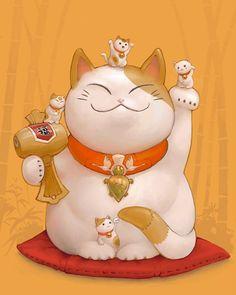 Risultati immagini per buon compleanno maneki neko Maneki Neko, Neko Cat, Crazy Cat Lady, Crazy Cats, Image Japon, Print Image, Asian Cat, Japanese Symbol, Art Asiatique