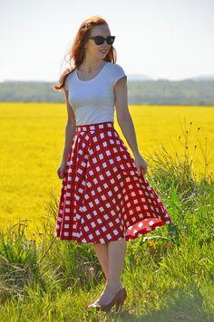 gingham skirt and bardot top