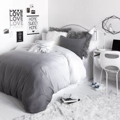 Crazy for ombre.Chic yet beautifully simple, the Ombre Duvet Cover and Sham Set features a soothing fade from white to dark grey. A long lasting and luxurious option you'll never tire of, this ombre bedding is the perfect combo of statement and versatilit Room Ideas Bedroom, Bedroom Inspo, Bedroom Decor, Bedroom Designs, Grey Room Decor, Bedroom Themes, Cozy Bedroom, Scandinavian Bedroom, Bed Designs