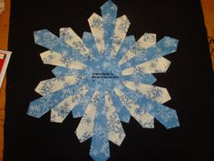 """15"""" dameter Snowflake Dresden Quilt block, my original design for sale. Pattern is $10.00 and can be purchased thru Craftsy.com, and the quilt blocks ready made in this fabric can be purchased directly thru myself for $50.00 + shipping for a set of 12. They are not appliqued onto background blocks , the price is for the snowflake plates only."""