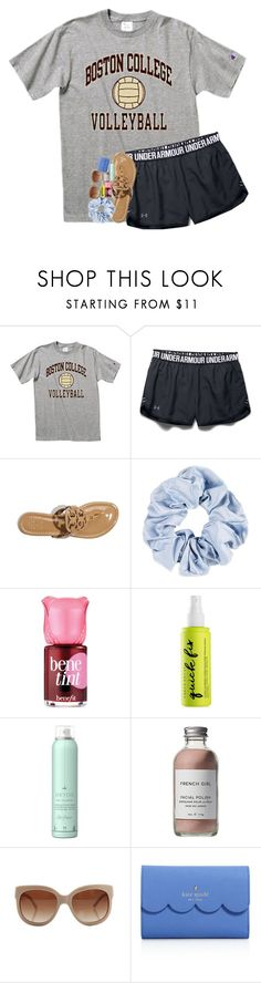 """what makes her any better than me:("" by southernmermaid ❤ liked on Polyvore featuring Under Armour, Tory Burch, Benefit, Urban Decay, Drybar, French Girl, STELLA McCARTNEY and Kate Spade"