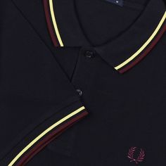 Fred Perry Polo Shirt- Navy / Soft Yellow / Shiraz
