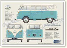1960 Volkswagen Campervan classic vehicle portrait print