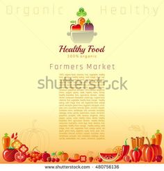 Red autumn farmers market fruit and vegetable vector. Food icons, text lettering cooking pan logo, organic diet icon. Fruits - tangerine, watermelon, cherry, pomegranate. Vegetables - carrot, tomato