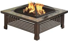 Pleasant Hearth OFW104SC Bradford 34in Outdoor Natural Slate Fire Pit w/ Table Lid and Cooking Grate