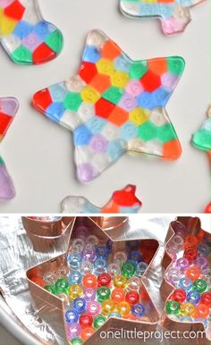 These melted bead ornaments are SO BEAUTIFUL! And they're so easy to make with pony beads! You can hang them on the Christmas tree, or use suction cup hooks on the window to turn them into sun catchers. for kids Melted Bead Ornaments Diy Crafts To Sell, Diy Crafts For Kids, Fun Crafts, Kids Diy, Science Crafts, Stem Science, Science Experiments Kids, Toddler Crafts, Craft Activities
