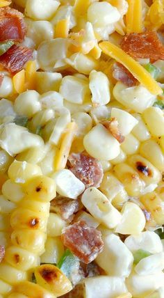 Jalapeño Popper Grilled Corn Salad (only prep work is grilling corn then cutting it off husk; combine grilled corn with Jalapeños, Cooked Bacon, Cream Cheese, Sour Cream, Cheddar Cheese; no additional cooking) Corn Salad Recipes, Corn Salads, Salad Recipes No Lettuce, Cold Corn Salad, Bbq Salads, Grilled Corn Salad, Roasted Corn Salad, Def Not, Party Dips