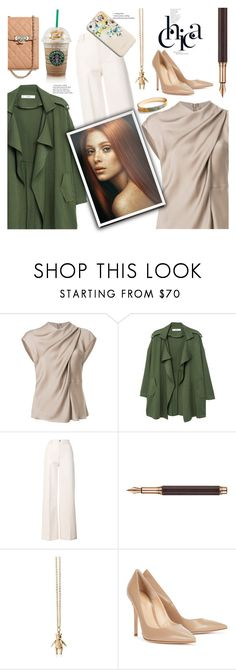 """""""work work"""" by omniaasaad ❤ liked on Polyvore featuring Giorgio Armani, MANGO, Tory Burch, Caran d'Ache, Magdalena Frackowiak, Gianvito Rossi, Karen Millen and Chanel"""