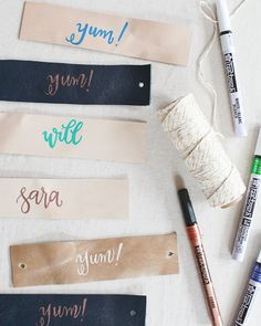 Oh So Beautiful Paper: DIY Tutorial: Leather and Paint Pen Napkin Rings (and a Giveaway!)