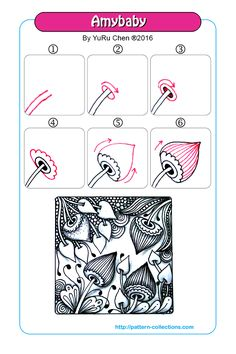 Amybaby Tangle, Zentangle Pattern by Yuru Chen Zentangle Drawings, Doodles Zentangles, Doodle Drawings, Tangle Doodle, Zen Doodle, Doodle Art, Doodle Patterns, Zentangle Patterns, Flower Patterns