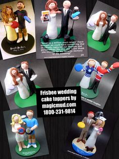 Frisbee wedding cake toppers by http://www.magicmud.com   1 800 231 9814  magicmud@magicmud.com  http://blog.magicmud.com  https://twitter.com/caketoppers         https://www.facebook.com/PersonalizedWeddingCakeToppers http://instagram.com/weddingcaketoppers $235  #frisbee#wedding #cake #toppers #custom #personalized #Groom #bride #anniversary #birthday#weddingcaketoppers#cake-toppers#figurine#gift#wedding-cake-toppers