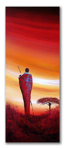 African sunset painting 'Maasai sunset'