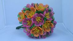 French Beaded Flower Bridal Bouquet.