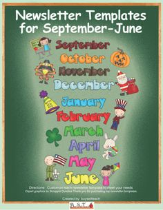 Serena Haberman- Free months of the year newsletter templates! Class Newsletter, Monthly Newsletter Template, Kindergarten Newsletter, Preschool Newsletter Templates, Classroom Newsletter, School Newsletters, Newsletter Ideas, School Classroom, Classroom Activities