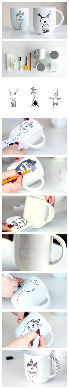 Learn how to decorate a coffee mug with a porcelain marker