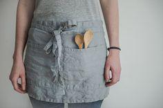 Linen cafe apron. Vintage light grey washed natural, eco - friendly, handmade linen cafe apron