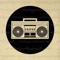Digital Image Boombox Download Music by VintageRetroAntique