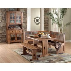 This charming Breakfast Nook set includes three seats/ benches and a full sized table. Made from quality oak wood and slate, it offers plenty of options for filling out your home and bringing your family to the table.