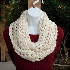 9f3a571e7 Crochet INFINITY SCARF Loop Cowl, Solid Light Cream Off-White, Soft Thick  Winter