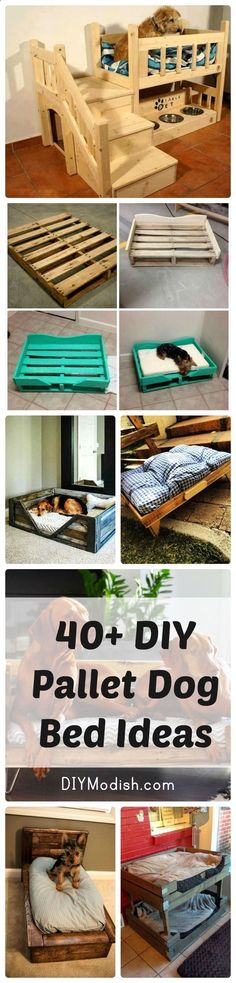40 DIY Pallet Dog Bed Ideas - Old Door Panels and Pallet Dog House – DIY #dogbed