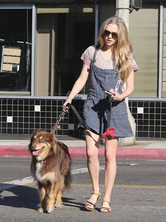 'Lovelace' actress Amanda Seyfried takes her dog to meet a friend for coffee before doing some shopping at Whole Foods in West Hollywood, Ca...