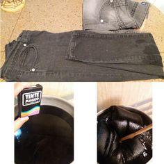 How dry your jeans in 5 steps 1. Poner al fuego 5 lts de agua en 1 olla. Luego disolver en 1 taza de agua el tinte de ropa del color que usted desee + 2 cucharadas de sal. 2. Agregar la mezcla de tinte y sal en el agua caliente y dejar hervir. 3. Cuando  la mezcla este hirviendo, mojar el pantalón antes de sumergirlo en la olla, dejar hervir la prenda por 30 min mientras mueve la mezcla de adelante hacia atrás.  4. Retirar el jean y enjuagar suavemente. 5. Planchar la prenda antes que este…
