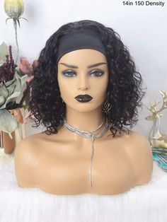 Headband Wig Curly Bob Wigs Beginner Friendly Virgin Human Hair [HW06] – myqualityhair Headband Wigs, Headbands, Curly Bob Wigs, Hair Quality, Half Up Half Down, How To Make Hair, Protective Styles, Lace Wigs, Cool Hairstyles