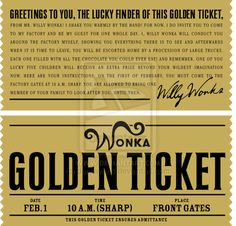 Willy Wonka Golden Ticket Printable