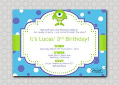 Items similar to Monsters Themed Birthday Party Invitation - Mike Sully Inc printable diy party on Etsy Monster University Birthday, Monster Inc Birthday, Monster Inc Party, Baby Boy Invitations, Birthday Party Invitations, 1st Boy Birthday, Boy Birthday Parties, Birthday Ideas, Mike And Sully