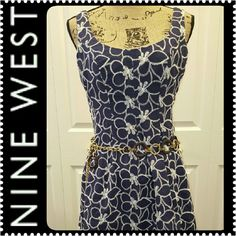 Nine West Eyelet Flare Dress Classic& Chic at the Same Time, Nine West's Flared Frock, Looks Great Dressed Down with Denim Jacket or Fancied up with Heels, Comfy with 100% Cotton,  Mint Condition Nine West Dresses