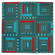 Study in Blues and Red - Modern Art Quilt | Flickr - Photo Sharing!  I could see making this with Kaffe shot cotton and stripes