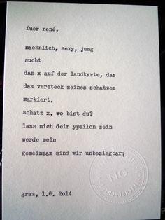 Sag mir ein Wort und ich schreib dir ein Gedicht. Wortfachgeschaeft @ Designmesse Edelstoff in Graz. Inspirationswort: Schatz X