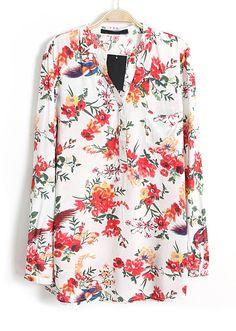 White V Neck Long Sleeve Floral Bird Print Blouse - Sheinside.com